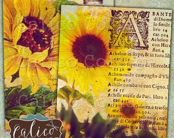 Sunflowers, Printable, Digital Art, Full Size, Sunflower Ephemera, Flower Print, Journal Pages, Journal Kit, Calico Collage, Original Art