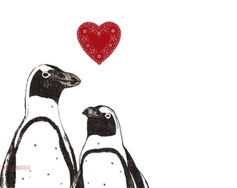 Penguin Love  - Art Print - Love Valentine Black and White Pair