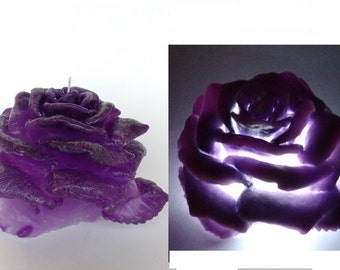 Purple Rose candle with led Wedding Table Candles Carved candle Decorative candle Pueple candles Unique candle Gift idea for Wedding