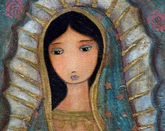 Virgen de Guadalupe -   Giclee print mounted on Wood (4 x 4 inches) Folk Art  by FLOR LARIOS