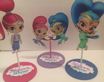 Shimmer and Shine inspired party decorations, party centerpieces