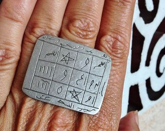 Old  SILVER Tuareg Large Tribal Magical Protection Ring with Tifinagh Symbols SIZE US 13