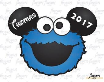 Cookie Monster Ears Inspired - Sesame Street - Disney Iron On Transfer - DIY Disney Shirts - INSTANT DOWNLOAD