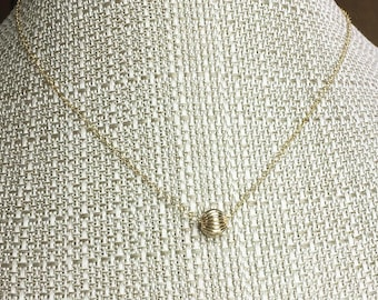 LYDIA Delicate Ribbed GOLD BALL Necklace * 14k Gold Filled * Dainty, Simple * Minimal * Perfect for the Layered Necklace look