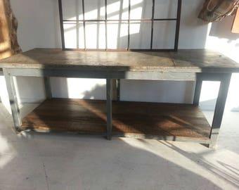 Antique industrial European zinc topped worktable