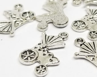 10 Baby Carriage Antique Silver Metal Charms // Great for Shower Gifts
