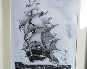 Framed original tall ship drawing
