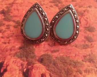 Vintage Marcasite and Sterling Silver Teardop Earrings, 925 Jewelry, Blue Stone Earrings, Stud Earrings, Accessories, Boutique
