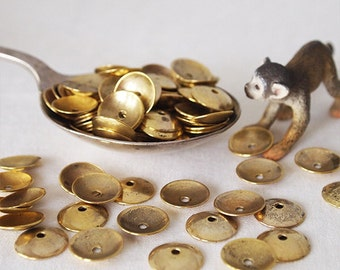 30 Metal Bead Caps Antique Gold Tone  Size 13mm