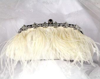 Ivory Ostrich Feather Bridal Clutch Purse,  Ivory Feather Clutch, Satin Wedding Clutch, Feather Wedding Purse with Rhinestone Trim