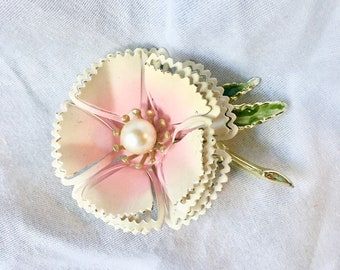 Enamel Flower Brooch Vintage Floral Pin Dimensional 3D Pink and White with Pearl