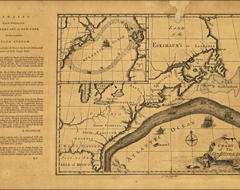 Poster, Many Sizes Available; Map Chart Of The Gulf Stream 1786