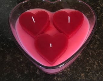 Hearts in a heart shaped glass bowl