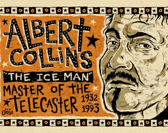 Albert Collins Blues Folk Art poster - signed by Grego - Mojohand.com