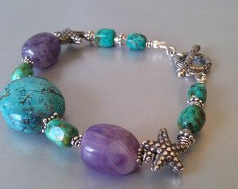 Ocean Treasure Turquoise and Amethyst  Starfish Bracelet