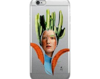 collage, art, graphic cactus iPhone Case, cover, Growing Ideas, 6 plus, 6s plus, 7, 7 plus, 8 plus, x, flexible, see-through polyurethane.