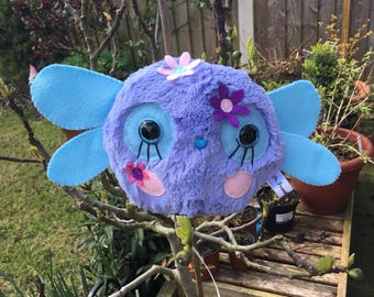 Lilac Buglet Insect Bug Plush Toy Kawaii Plushie Fly Monster OOAK Art Doll Weird Stuffed Animals