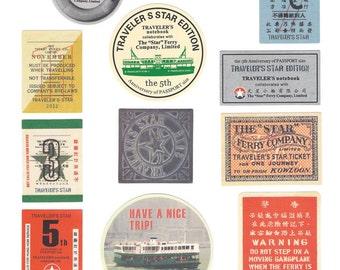 Traveler's Notebook 5th Anniversary Hong Kong Star Ferry Sticker,seal,craft supply,scrapbook supply,diary sticker