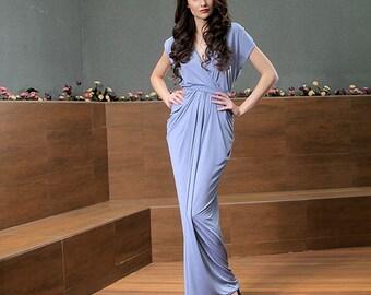 Gray Maxi Boho Dress, Beach Bridesmaid Dress, Long Stretch Drape Mother of Bride Dress, V Back Formal Prom Dress, Elegant Evening Dress