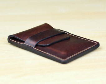Leather Business Card Holder, Personalized Leather Business Card Case,  Leather Card Case, Leather Card Wallet - Horween Brown Chromexcel