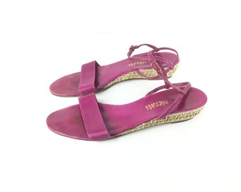 Pink espadrille 9 Pink sandals fuchsia magenta leather sandal flat womens sandal strappy ankle straw women's sandals vintage sandals