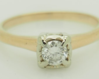 14K Yellow Gold 0.17ct G-VS1 Round Natural Diamond Solitaire Engagement Ring 5.5; sku # 5375