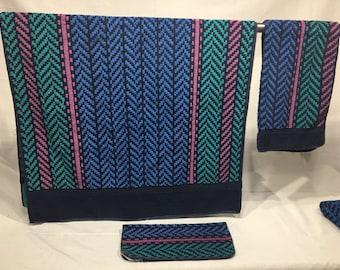 Vintage striped bath towel set, blue, green, and pink stripes, bathroom towels retro, bath towel, hand towel, wash cloth, Fieldcrest
