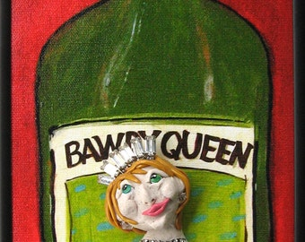 Bawdy Queen Bordeaux Red Wine Art - 6x16 Framed Limited Edition Canvas Print with Polymer Clay Sculpture