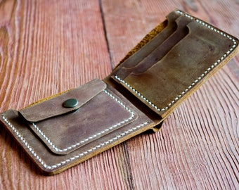 Coin pocket wallet, Leather coin wallet, Leather Men's Coin Pocket Wallet, Coin Purse, Coin Holder,  Bifold Wallet, Wallet