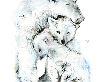 Three Cosy Polar Bears Print