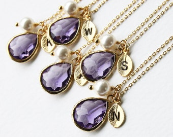 10% OFF, Bridesmaid gifts, Set of 7,8,9,10, Amethyst necklace, Personalized wedding necklace, Bridal jewelry, Purple bridesmaid necklace,