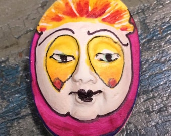 clay face jewelry craft supplies  handmade cabochon pink woman  mask  polymer  findings   doll parts head mask stripes tribal
