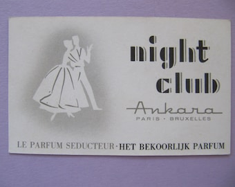 """Vintage perfume ad """"Night Club"""" from Ankara 1930's, Paris perfume advertizement card, 1930's Art Deco French perfume ad package insert card"""