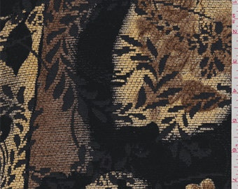 Black/Brown Floral Chenille Jacquard, Fabric By The Yard