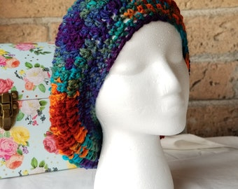 Slouchy Crochet Hat, Woman's Hat, Mulitcolored, Spring or Winter hat