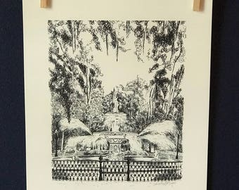 Savannah Forsyth Park Fountain - Pen and Ink Black and White Fine Art Print