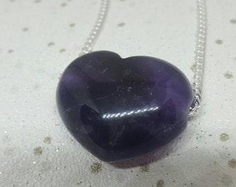Amethyst Crystal Necklace, Amethyst Necklace, Loveheart Necklace, Heart necklace,  Crystal Necklace, Amethyst Loveheart Necklace, Christmas