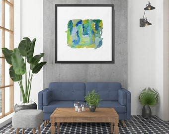 Abstract Watercolor, Framed Print, Framed Art, Abstract Art Print, Blue, Green, Framed Watercolor, Watercolor Wall Art, Abstract Wall Art