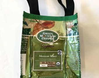 Go Green Eco Friendly Purse made with Recycled Green Mountain coffee bags upcycled repurposed