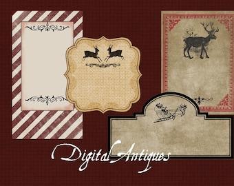 Vintage Christmas Labels Blank Printable  Digital Download