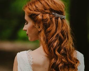 Wedding headpiece, pink rhinestone  bridal lacy hairpiece, unique crocheted headband, bridal wreath, rhinestones wedding tiara, bridal vine