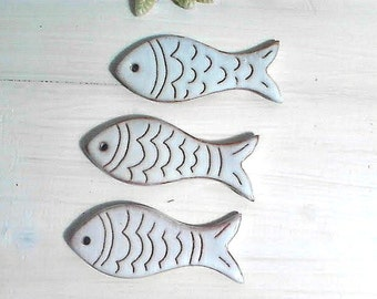 Decorated charm fishes, Charm supplies for jewellery beading creators, Artisan handmade ceramic jewelry supplies, Necklace creator supplies,