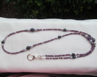 Purple ID Badge Beaded Lanyard Necklace Purple ID Badge Holder
