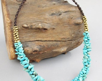 Turquoise Chip Stone Necklace with Brass Bead
