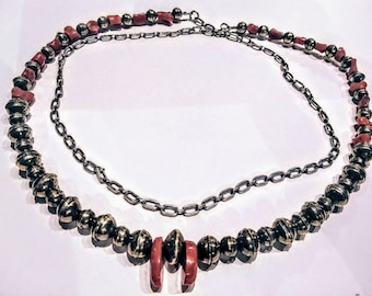 Coral Silver Beaded Vintage Necklace, Native Necklace