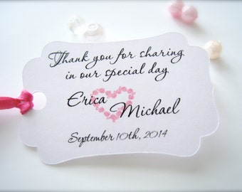 Small wedding favor tags, personalized thank you tags, party favor tags, engagement favor tags, bridal shower tags - 30 count(tg13)