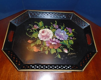 Vintage Metal tray. Decorative tray. painted metal tray. large tray. serving tray. painted flowers. hand Painted. Hand painted tray