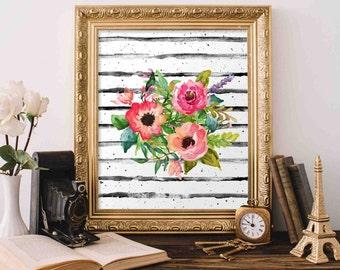 Floral Printable Art, Floral Bouquet wall art, Nursery decor, home decor, floral poster art, office decor Watercolor floral Nursery Print