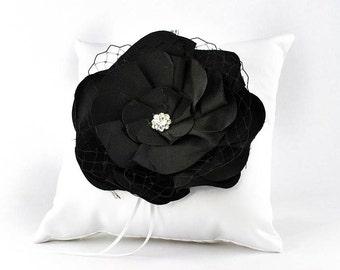 Black Rose Wedding Ring Bearer Pillow - 75104B