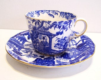 Royal Crown Derby Mikado Blue and White Cup Saucer Oriental Asian Bone China